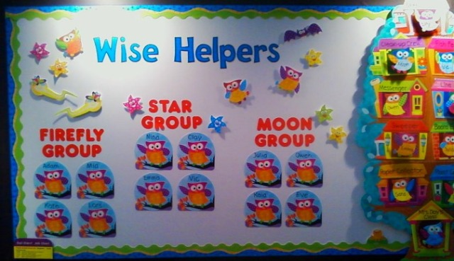Owl Stars Wise Helpers Bulletin Board