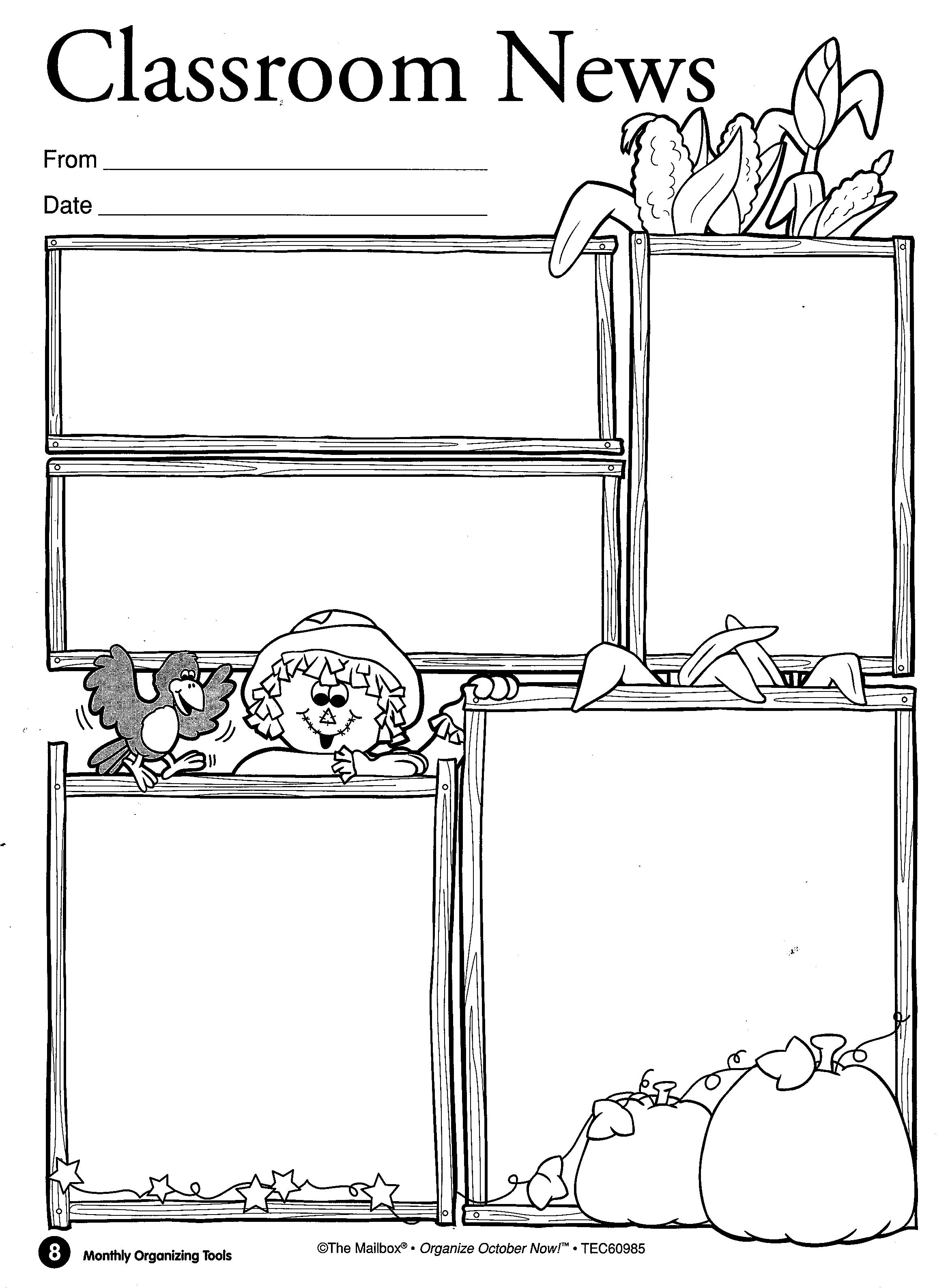 Blank Newsletter Templates For Preschool Printables Pictures to – Preschool Newsletter Template