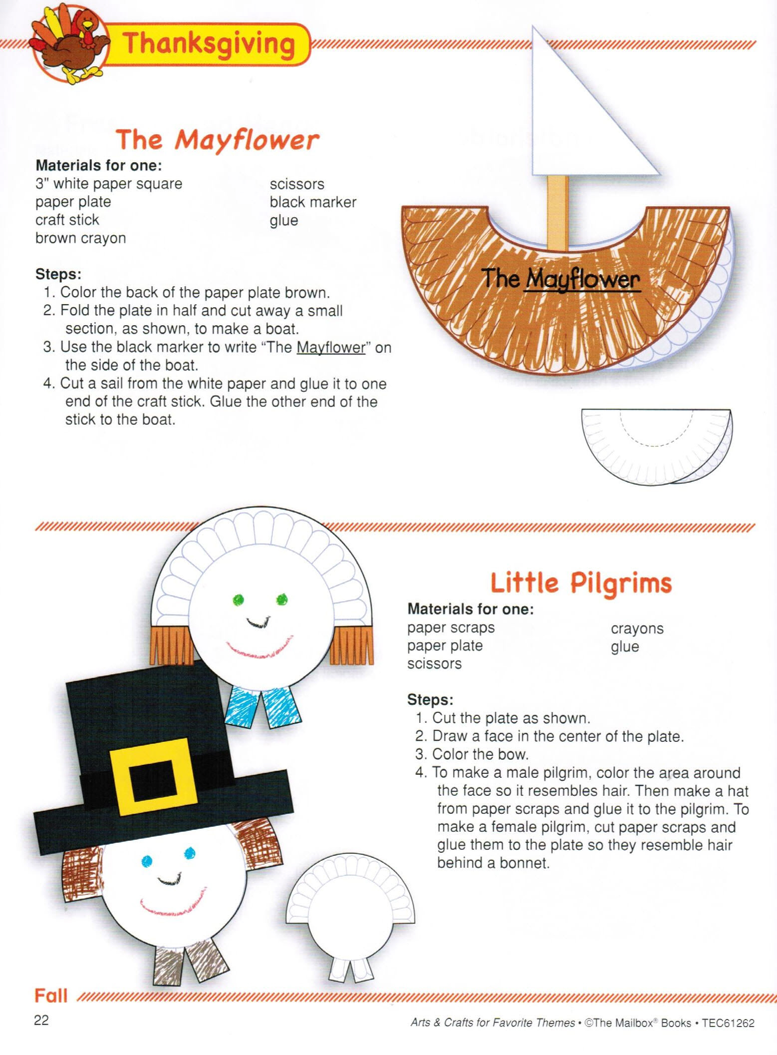 Simple and cute Mayflower and Pilgrim crafts made from paper plates.