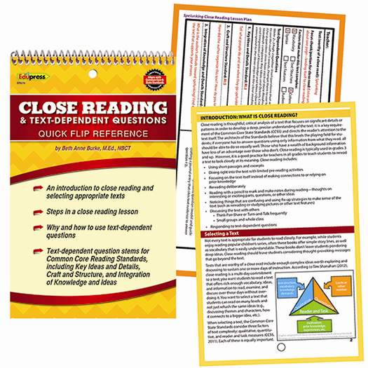 Quick Flip Guide For Close Reading And Text Dependent Questions (EP ...