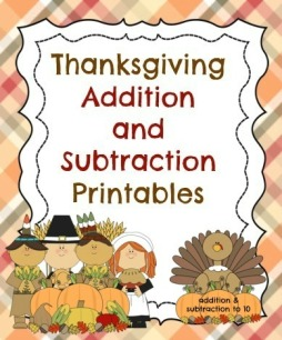 Thanksgiving Addition to 10, Subtraction to 10 Printables