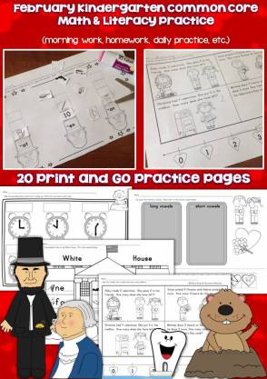 February kindergarten common core pages