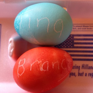 Easter eggs dyed with Kool-Aid