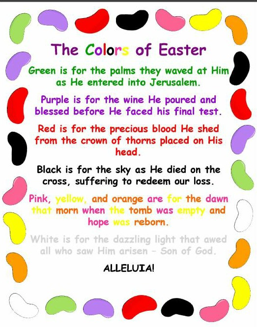 The colors of easter jelly bean poem christian activities - What are the easter colors ...