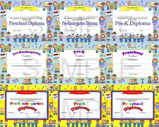 preschool diploma, pre-k diploma, pre-kindergarten diploma