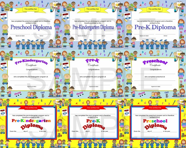 Pre k pre kindergarten diplomas certificates graduation invitations
