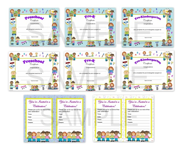 Preschool Certificates and End of the Year Celebration Invitations