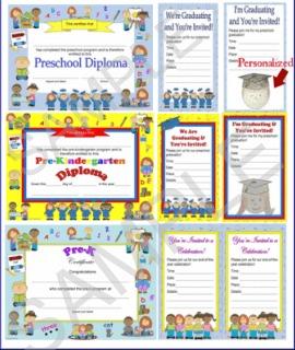 preschool, pre-k, pre-kindergarten diploma, certificate, graduation invitation
