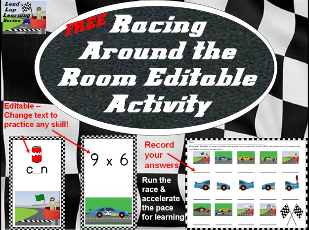 Free Racing Around the Room Editable Activity