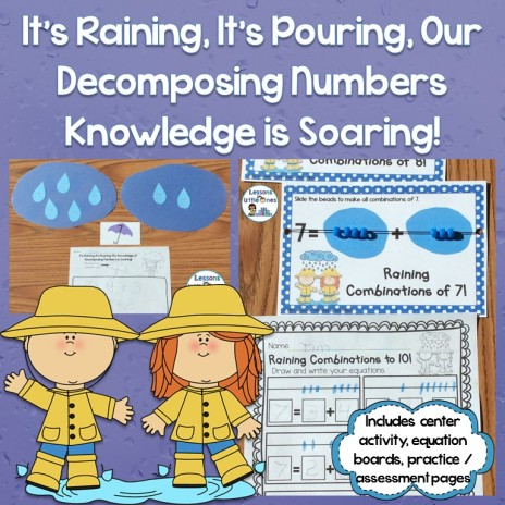 Decomposing Numbers Center, Equation Boards, & Pages Common Core Standard K.OA.A.3