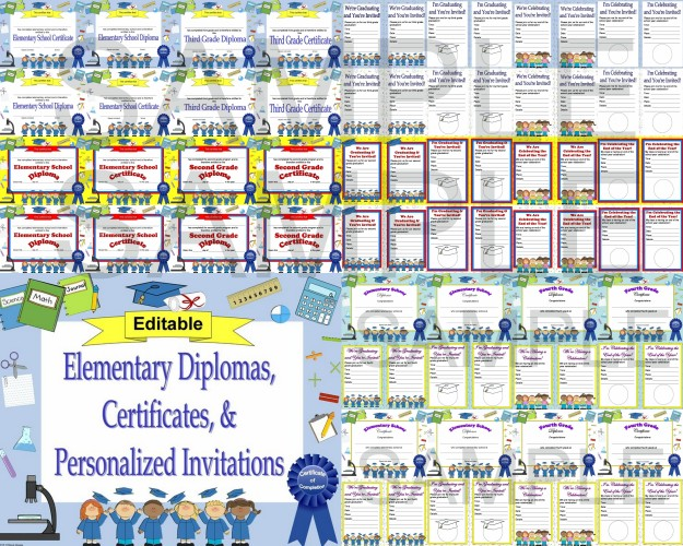 elementary school diplomas editable
