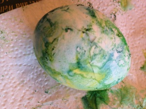 Easter egg colored with shaving cream and food coloring