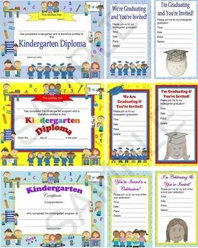 kindergarten diploma, certificate, graduation invitation