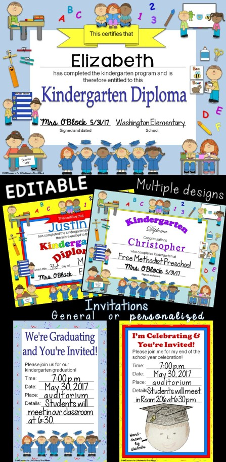 kindergarten diplomas & graduation invitations