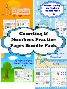 counting and numbers bundle spring summer winter fall