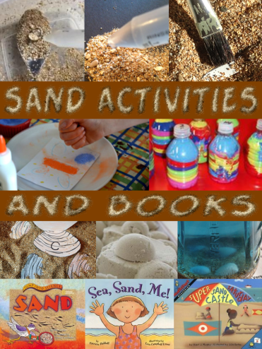 sand science experiments, activities, sand art, books