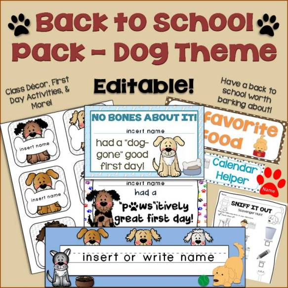 dog back to school classroom decorations and activities