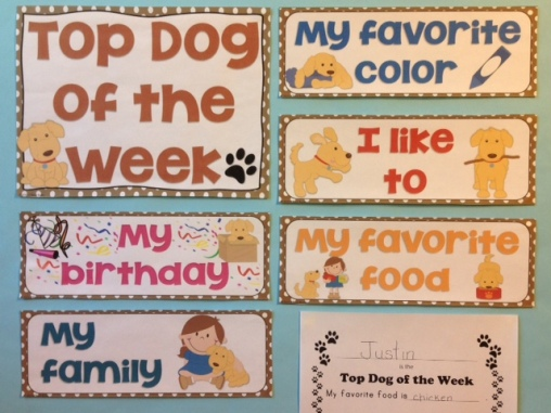 student of the week class decor top dog of the week
