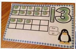 winter counting numbers play dough mat