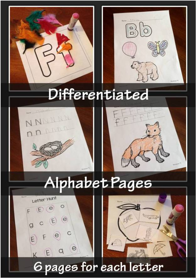 differentiated alphabet pages