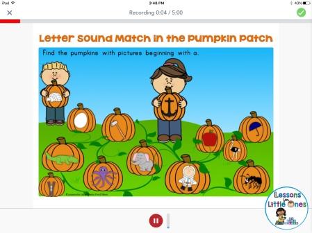 beginning sounds practice using Seesaw app
