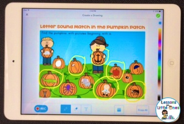 letter sounds beginning sounds practice using Seesaw app