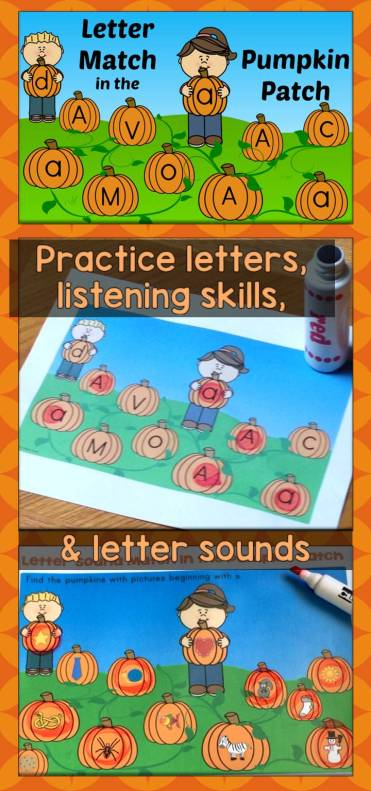 Letter and Letter Sound Match in the Pumpkin Patch