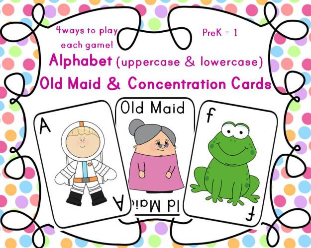 Alphabet Old Maid and Concentration Cards