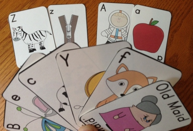 old maid cards for teaching the alphabet