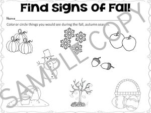 signs of autumn worksheet