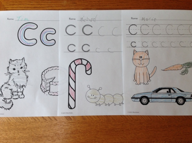 differentiated letter C writing pages