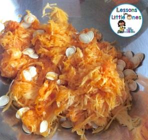 Christian pumpkin carving activity - pumpkin pulp and seeds