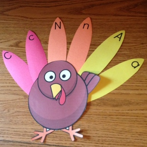 Thanksgiving Turkey alphabet letters