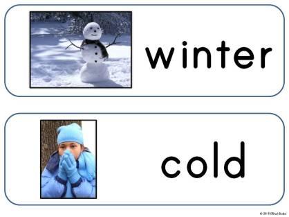 winter season word wall cards