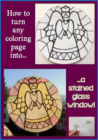 how to turn a coloring page into a stained glass window decoration lessons for little ones by. Black Bedroom Furniture Sets. Home Design Ideas