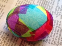 Easter egg decorated with tissue paper