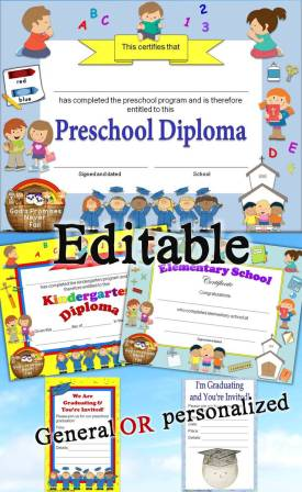 Christian, religious diplomas for preschool - grade 6