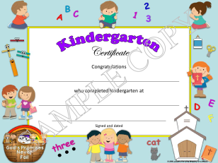 kindergarten diploma & certificate with religious theme for Christian, Catholic schools