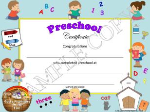 editable Christian, religious preschool diploma & certificate