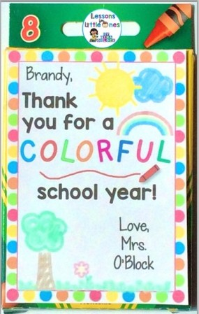 End of the school year student gift - crayons
