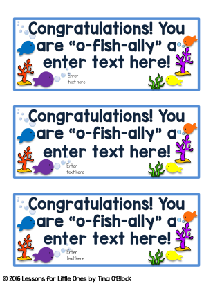 editable fish end of the year student tags