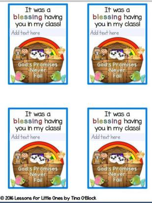 Noah's Ark student gift tags