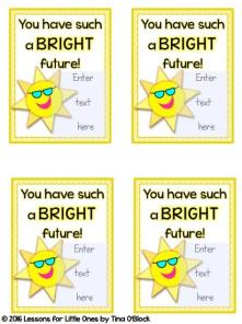 sunglasses end of the year student gift tags