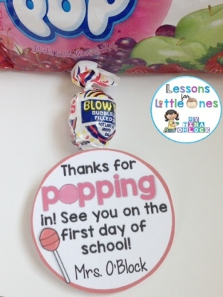 Thanks for popping in blow pop student gift tag