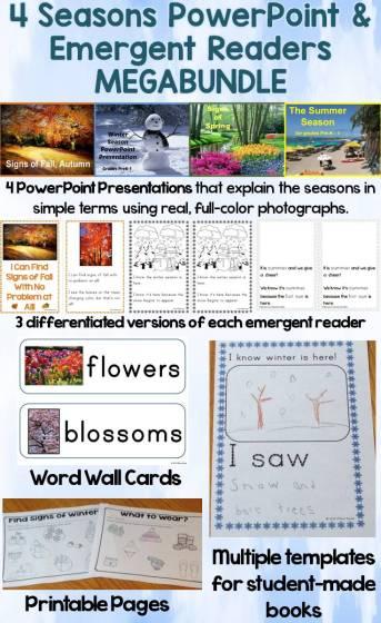 Four Seasons MEGA-Bundle (PowerPoint Presentations & Emergent Readers)