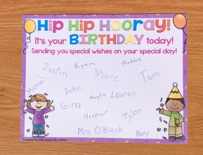 birthday certificate from the class