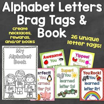 Alphabet Letters Brag Tags & Book