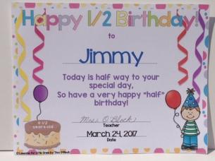 student half birthday certificate