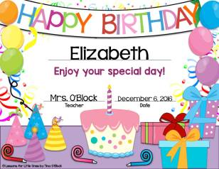 student birthday certificates editable