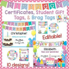 student birthday certificates, gift tags, and brag tags